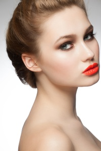 Woman with orange lipstick